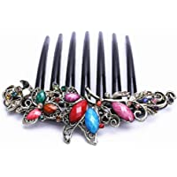 FACILLA® Flower Mix Color Metal Rhinestone Chinese Stylish Wedding Hair Pin Hair Comb Hair Clip 4.22""