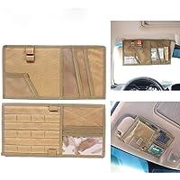 Tactical Molle Multifunction Vehicle Visor Panel Car Sun Visor Organizer Holder Storage Bag Pouch for Most Vehicle Tan