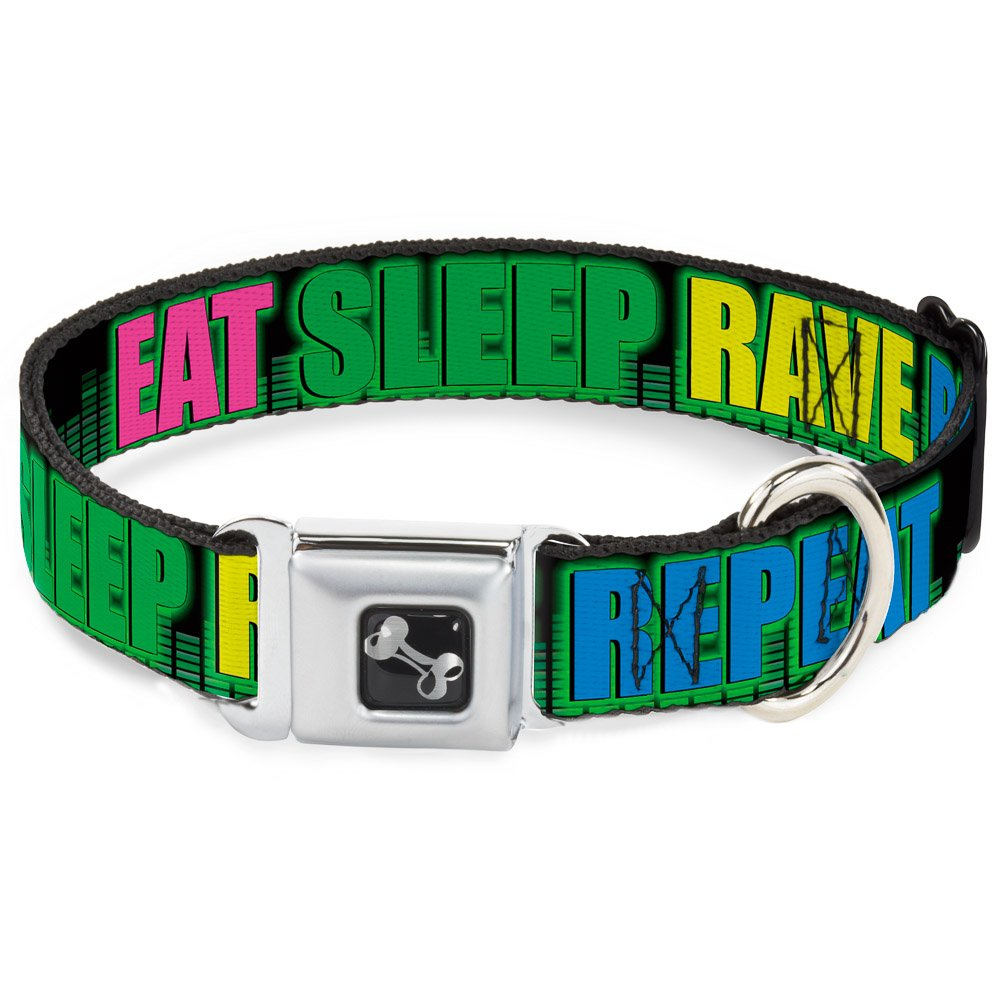 Buckle-Down Eat Sleep Rave Repeat Black Multi Neon Dog Collar Bone, Medium 11-17