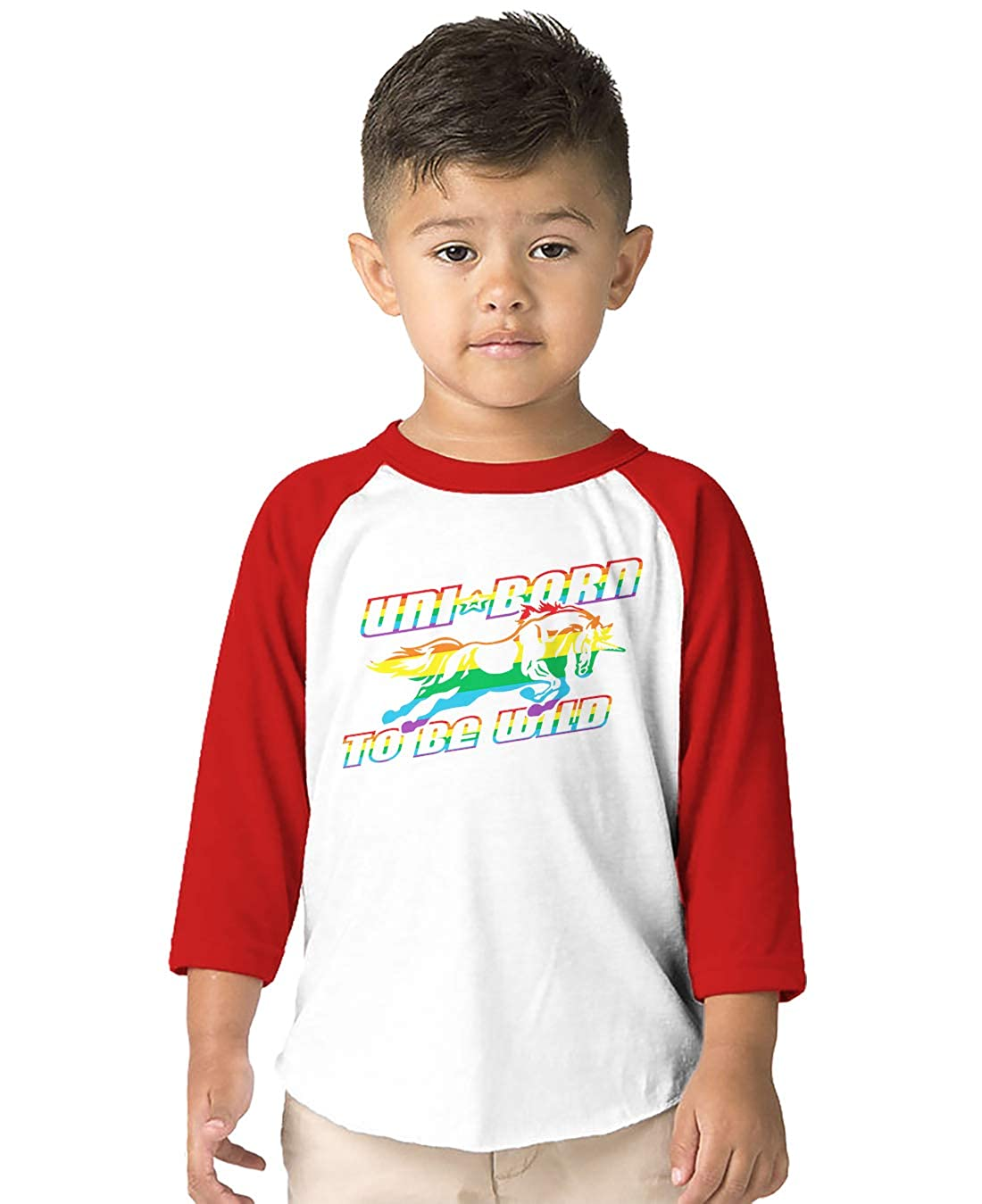 Unicorn Magical Toddler 3//4 Raglan Shirt SpiritForged Apparel Uni Born to Be Wild