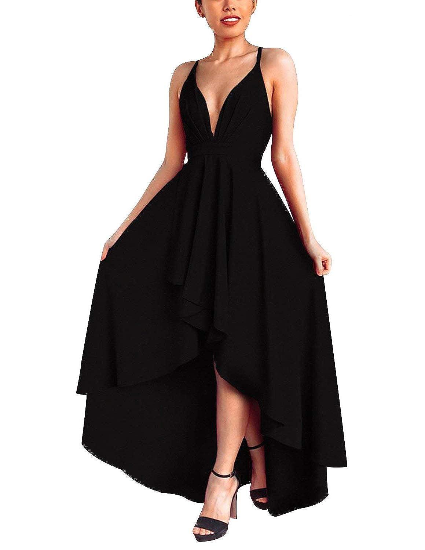 TALLA S. Abravo Mujer Vestidos Fiesta Sin Manga para Ceremonia Coctel Partido Largos Irregular Maxi Vestido Elegantes de Noche Negro