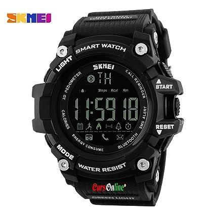 CursOnline® Reloj Pulsera de pulsera Skmei Digital Hombre Unisex Bluetooth Smart Watch pantalla LED Sport