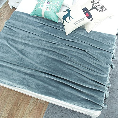Znzbzt Flannel blanket quilt single dorm students extra thick blankets winter coral fleece bed pure color blanket ,150cmx200cm, green gray green 320g thick