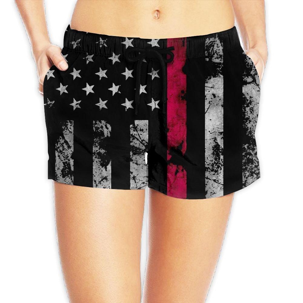 Alphary Firefighter Thin Red Line American Flag for Women Board Shorts Beach Swim Trunks Beachwear Athletic Gym Shorts