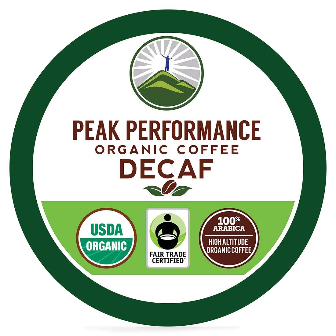 Organic Decaf K Cups - Peak Performance High Altitude Organic Decaf Coffee Pods For High Performance Individuals. Fair Trade Beans Organic Medium Roast K Cup Single Serve Keurig Decaffeinated 24 KCups