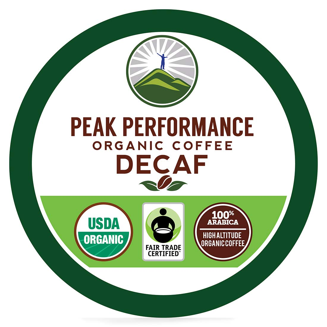 Organic DECAF K Cups - Peak Performance High Altitude Organic DECAF Coffee Pods For High Performance Individuals. Fair Trade Beans Organic Medium Roast K Cup Single Serve Keurig Decaffeinated KCups