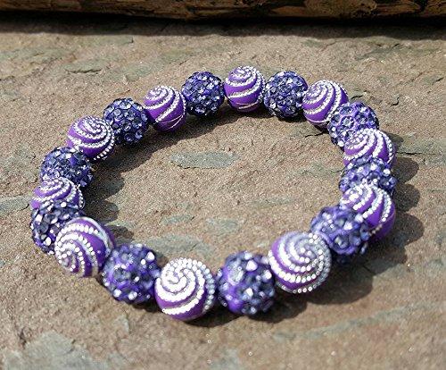 Purple Shamballa and swirl Bead Cuff Bracelet Rustic Style Bella Cuff Disco Ball Pave