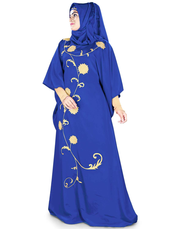 MyBatua Womens Kaftan Gold Embroidered Fancy Abaya Evening Gown Free Size Maxi Dress KF-018, Royal Blue