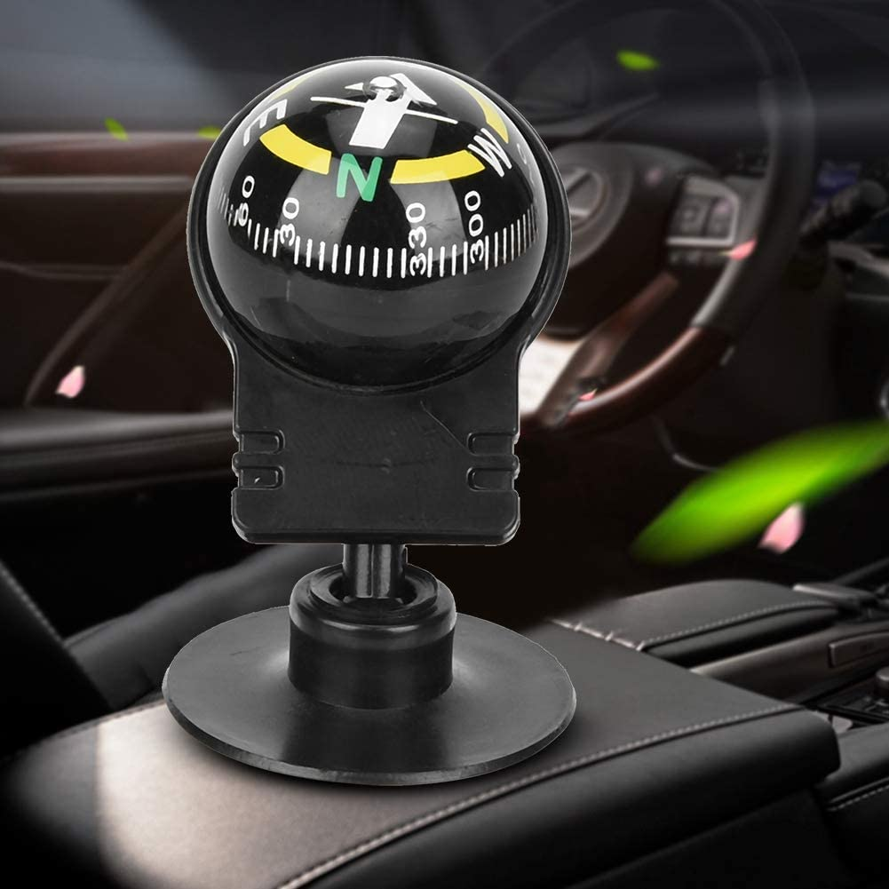 Car Compass Portable 2Pcs Car Compass Guide Ball with Suction Cup Camping Navigation Compass for Car Vehicle