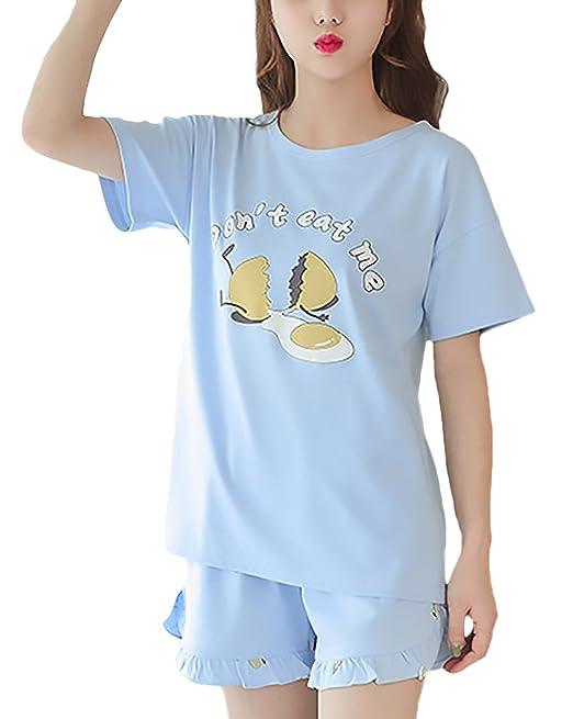 Pijama Mujer Verano 2 Pedazos Conjunto Manga Corta Cuello Redondo Animados Imprimir Suelto Cómodos Casual Lindo
