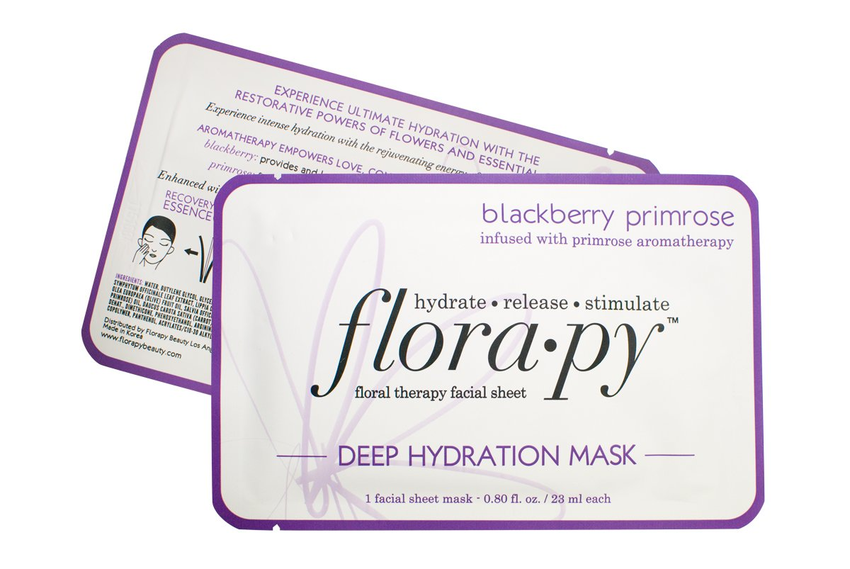 Aromatherapy Facial Sheet Mask - Hydrating - Essential Oils - Deep Hydration Blackberry Primrose (Single) by Florapy Beauty