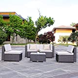 DOMI OUTDOOR LIVING 5-Piece Sectional Patio Furniture Set, All-Weather Garden Lawn PE Rattan Wicker Sofa, with Tea Table and 2 Sunbrella Pillows, Steel Frame, Brown Wicker, Beige Cushions