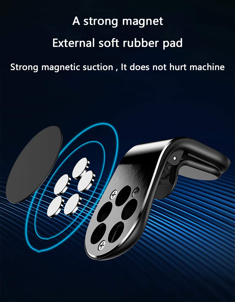 Black boomee Magnetic Car Air Vent Phone Holder Universal Cell Phone Bracket Stand for Car L Shape Magnetic Phone Holder in Car 360/°Rotation Magnetic Car Mount