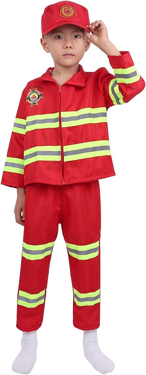 Freebily Feuerwehr Kostüm Kinder Junge Cosplay Feuerwehr Uniform Feuerwehrmann Anzug Fasching Karneval Kinderkostüm in Gr. 104 152 Rot 98 104