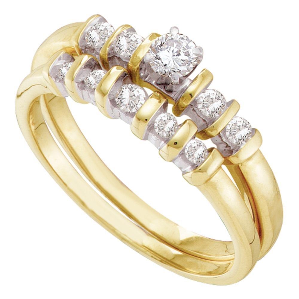 10kt Yellow Gold Womens Round Diamond Bridal Wedding Engagement Ring Band Set 3/8 Cttw