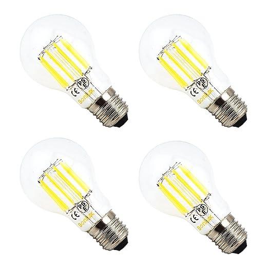 Bonlux 4 W A19 filamento LED bombillas E26 tamaño mediano Base bombillas LED, luz blanca