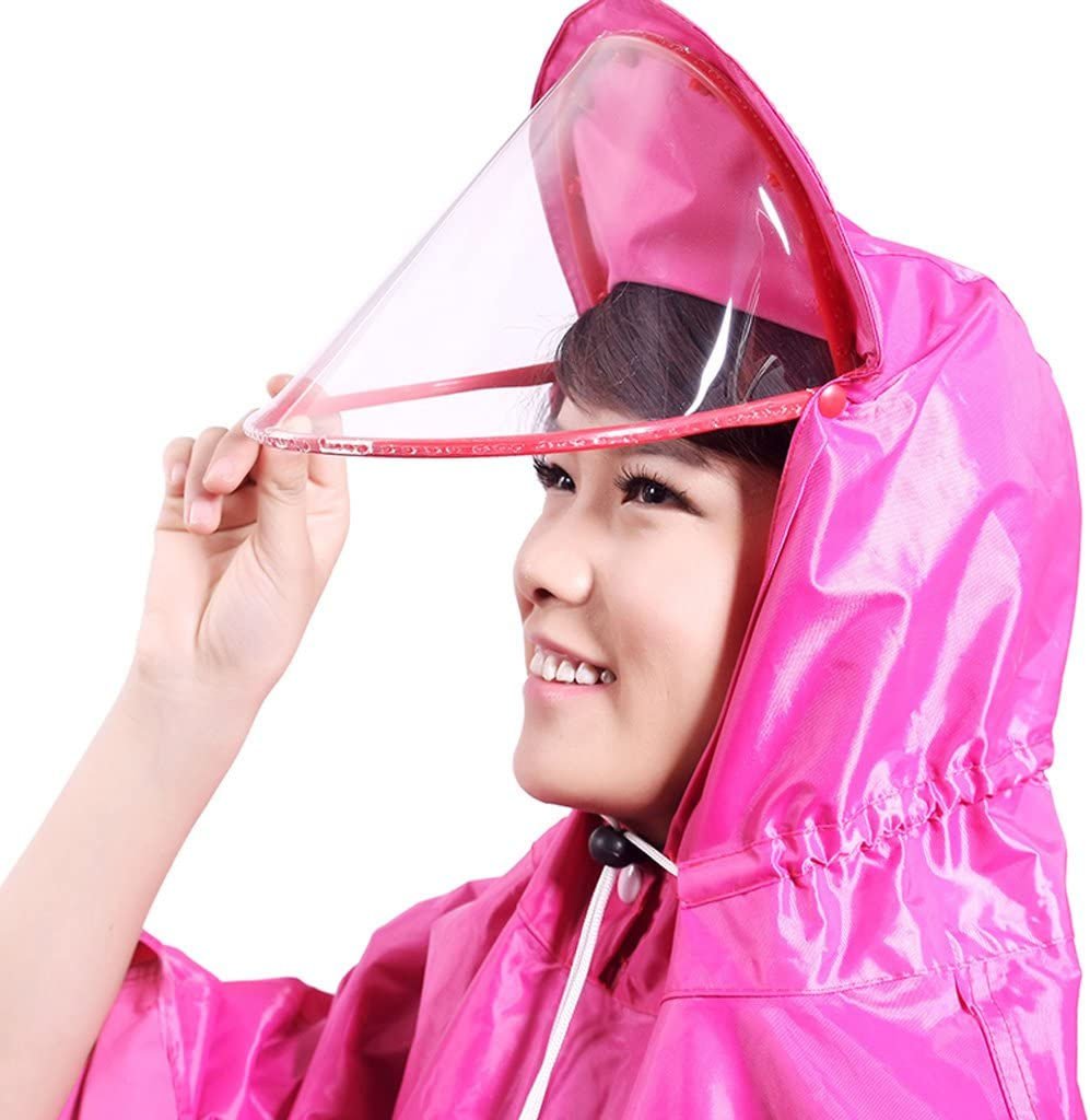 Raincoat JCOCO non-disposable polyester thickening double hat electric motorcycle poncho (color : Pink) Purple