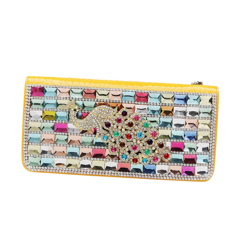 Yellow uirend Crystal Evening Clutches  Women Long Wallet Female Clutch Bag Leather Clutches Rhinestone Purse Zipper Fashion