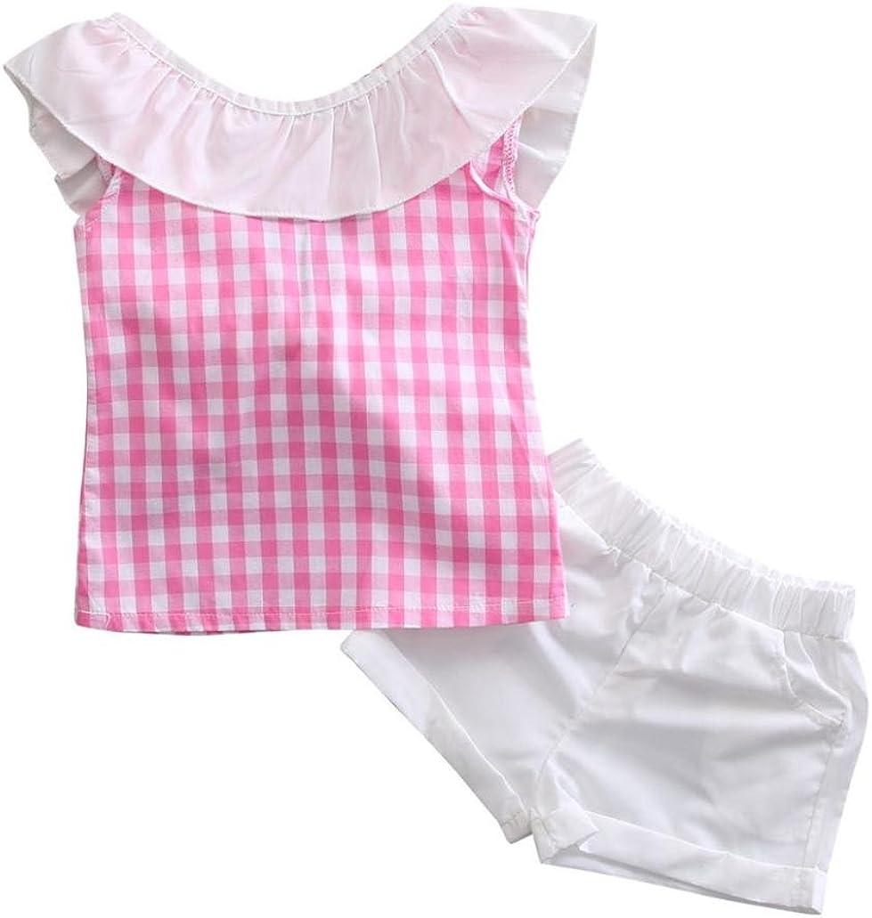 SMARTLADY 2~6 Años Niñas Bowknot Camisa a Cuadros sin mangas y Pantalones cortos (6 años, Rosa): Amazon.es: Ropa y accesorios