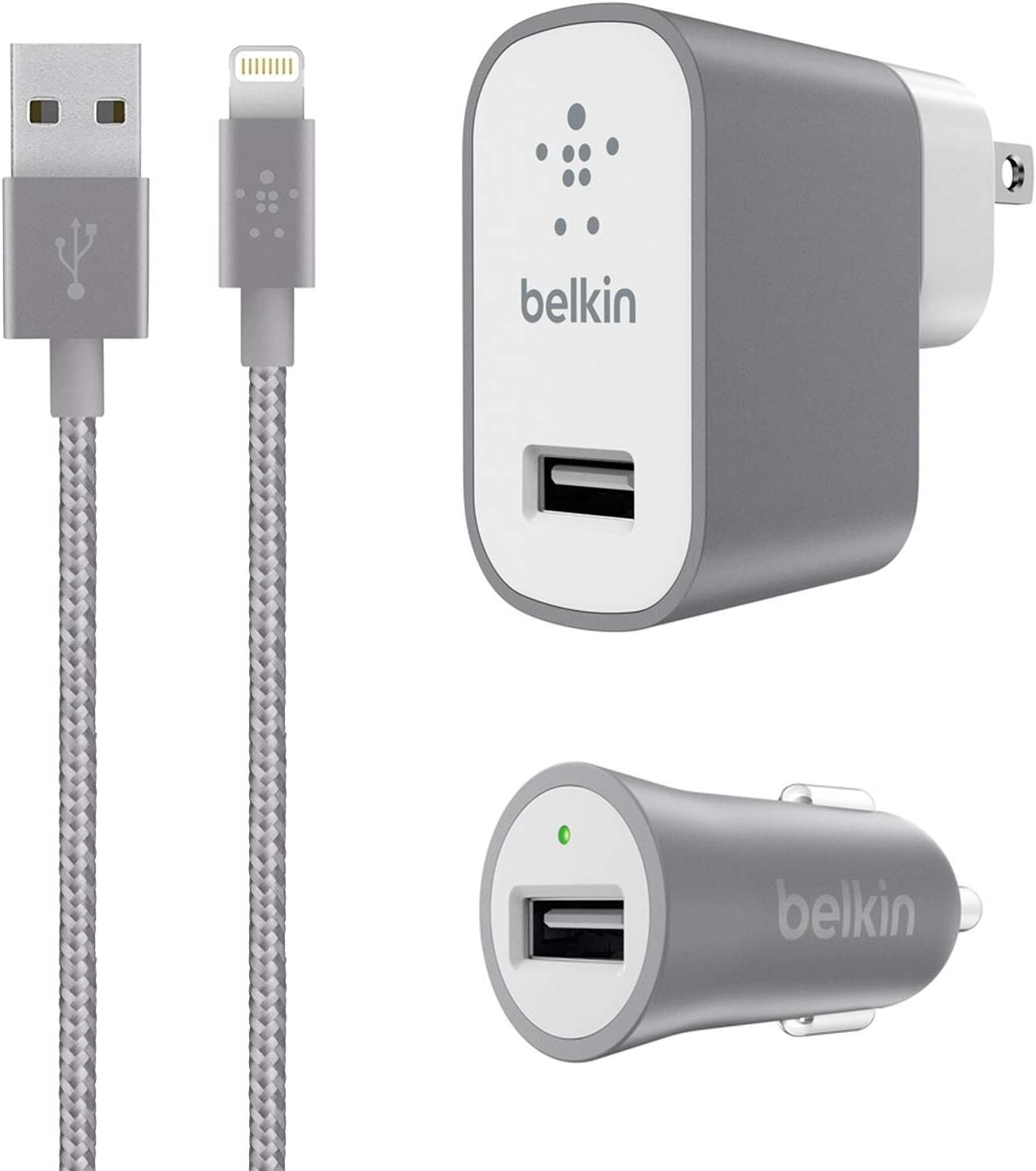Belkin Metallic Mixit -12W 2.4Amp Fast - Home & Car Charger Kit - (Retail Packing) for iOS iPhone 8/+/X iPad Pro (Gray)