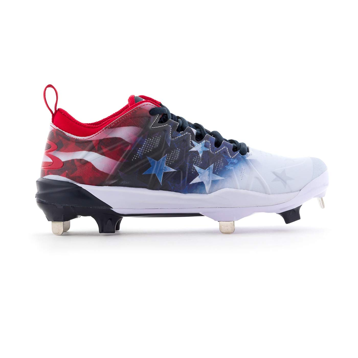 Boombah Women's Squadron Flag Metal Cleats Royal Blue/Red/White - Size 10 by Boombah