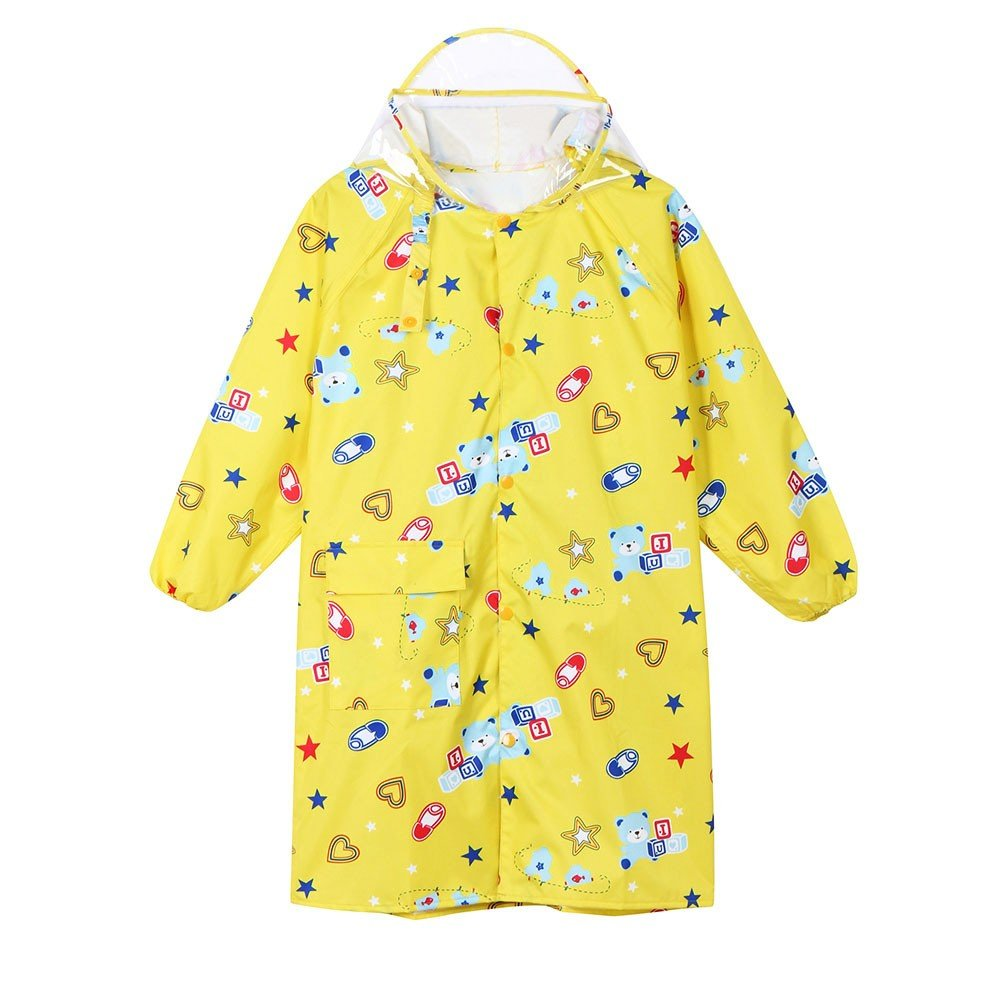 Lurryly Children Boys Girls Cartoon Printed Raincoat Kids Cute Waterproof Coat 2-14 T