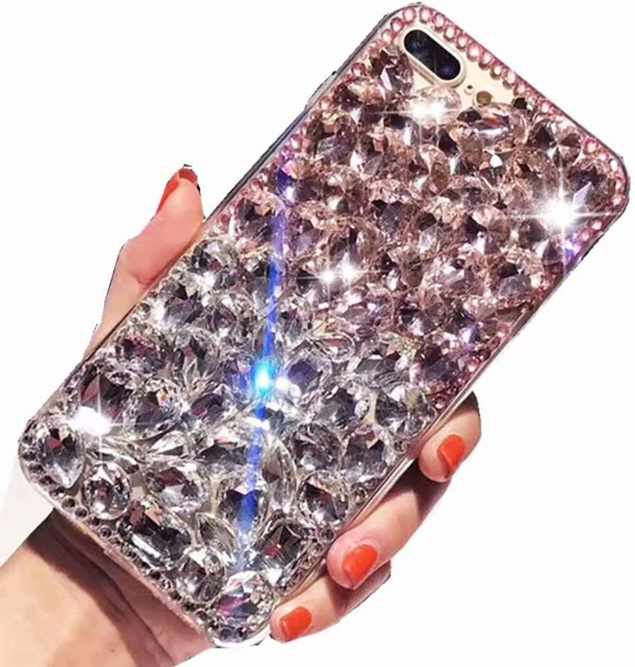 Lenovo Phab 2 Full Crystal Diamond Case, 3D Handmade Luxury Sparkle Crystal Rhinestone Diamond Glitter Bling Clear TPU Silicone Case Cover for Lenovo Phab2 6.4 inch (Pink/White)