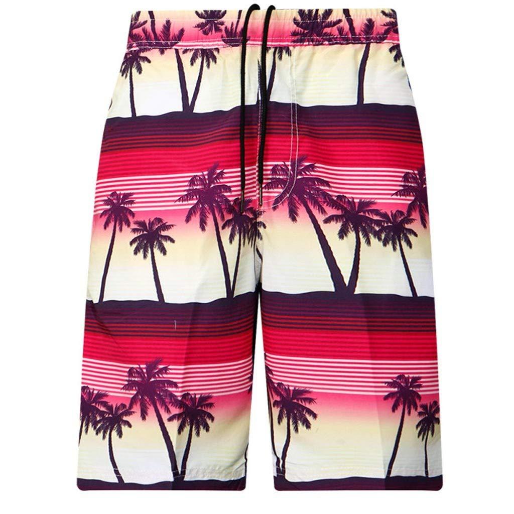 100be253de Amazon.com: Hunzed Casual Mens Swim Trunks Quick Dry Printed Beach Shorts  Summer Boardshorts with Pocket Beachwear Holiday Trunks: Clothing