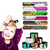 Slap Bracelets, Baztoy Slap Bands 2 Color Reversible Decorative Sequin Mermaid Bracelet for Kids Girls Boys Women, Party Favors, Birthday and Christmas Gift Supplies (12 Pack)