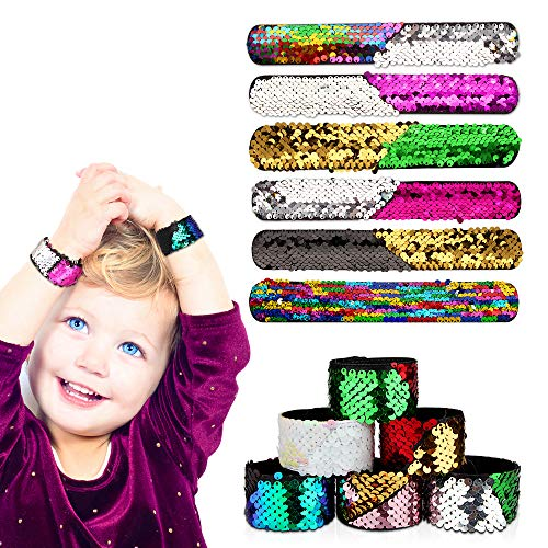 Slap Bracelets, Baztoy Slap Bands 2 Color Reversible Decorative Sequin Mermaid Bracelet for Kids Girls Boys Women, Party Favors, Birthday and Christmas Gift Supplies (12 Pack) by Baztoy