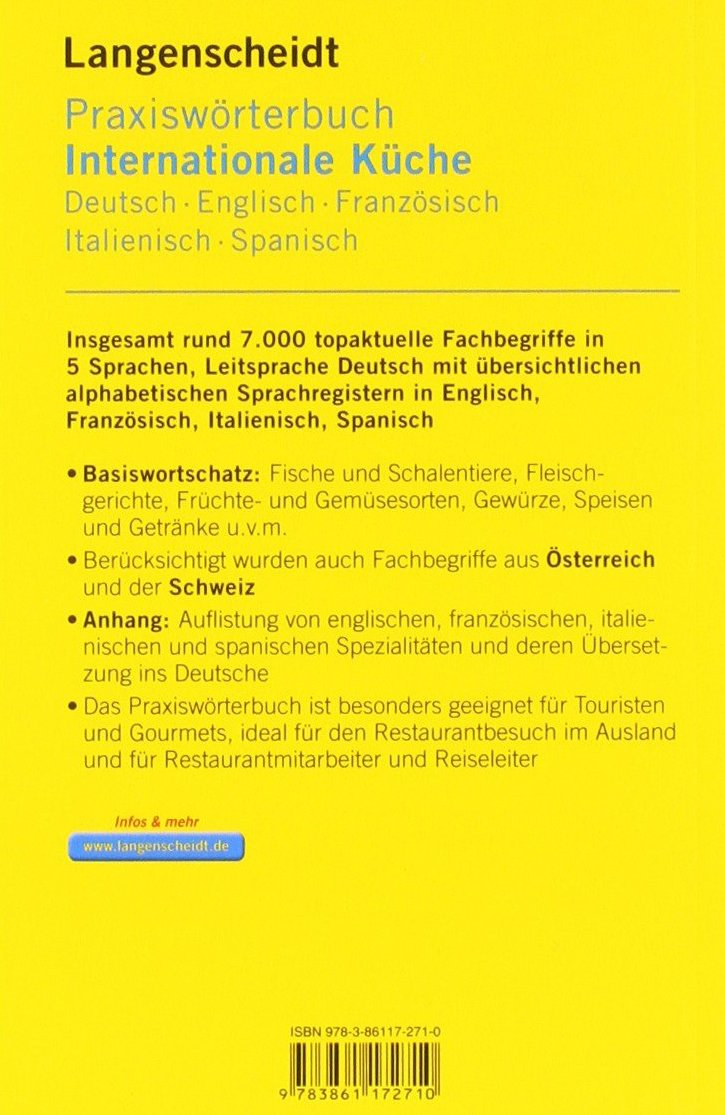 Langenscheidt Praxisworterbuch Internationale Kuche Deutsch