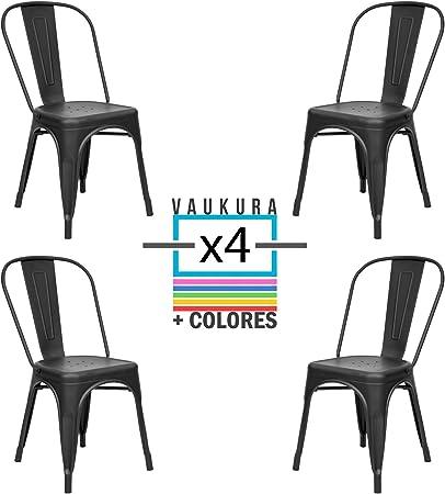 Vaukura Silla Tolix (Pack 4) - Silla Industrial Metálica Mate ...