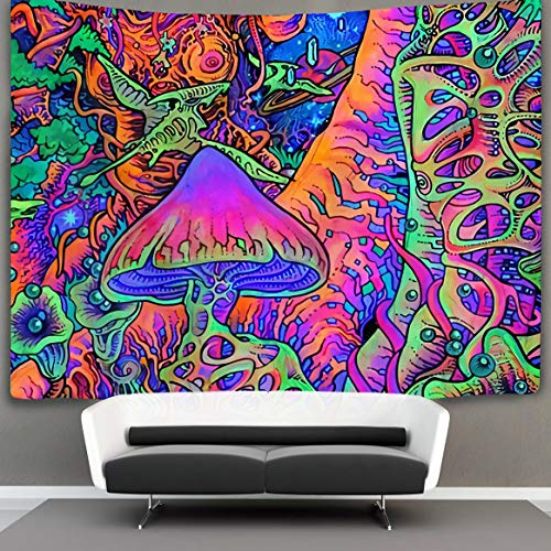 NiYoung Trippy Smoke Mushrooms Wall Tapestry Hippie Art Tapestry Wall Hanging Home Decor Extra Large tablecloths 60x70 inches for Bedroom Living Room Dorm Room ¡­