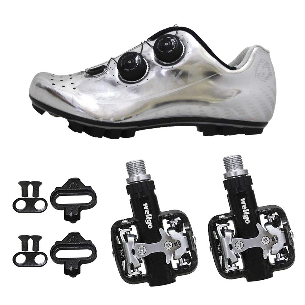 SIDEBIKE Radfahren Schuhe mit Pedalen, Mountainbikeschuhe PU Mikrofaser, Fahrradschuhe Rutschfest, Tragbar, Atmungsaktivität