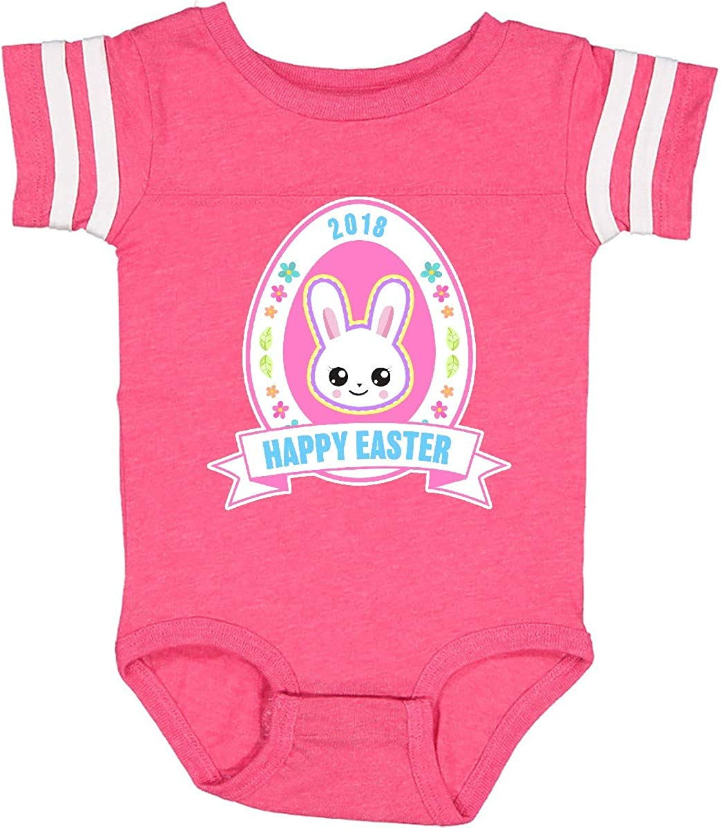 inktastic Happy Easter Banner with Bunny Face and Flowers Infant Creeper