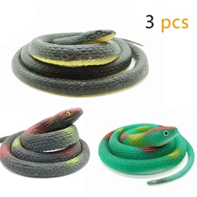 DE 3 Pieces Realistic Rubber Snakes in 2 Sizes 47 Inches and 29 Inches, Fake Snake Black Mamba Snake Toys for Garden Props to Scare Birds, Pranks, Halloween Decoration (3 Pieces, 47 Inch, 29 Inch): Toys & Games