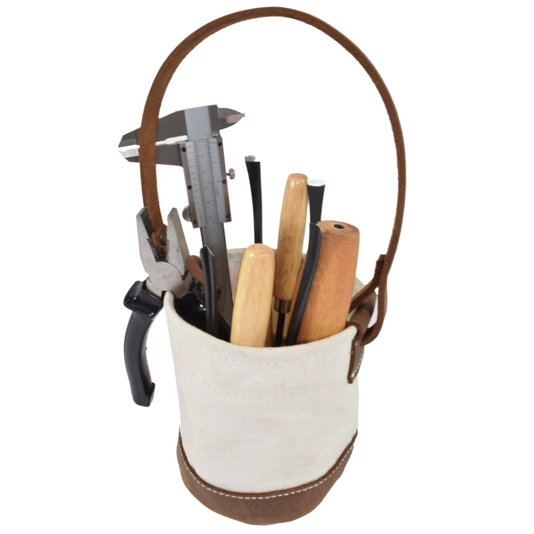 Canvas Leather Bottom Tool Bucket for Work/Camping/Fishing Organizer Handmade by Hide & Drink