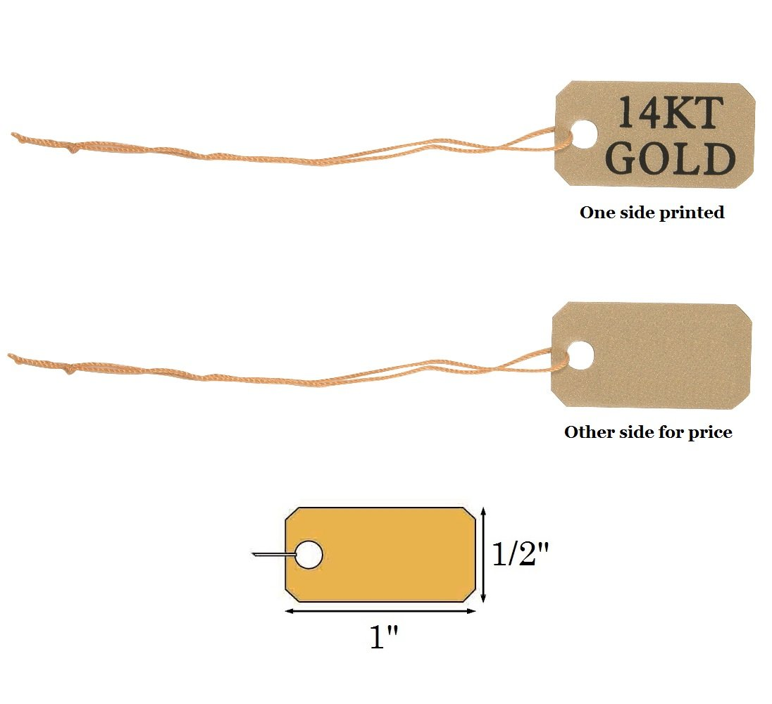 82e725e97622 300 Printed 14KT Gold Gold String Price Tags Jewelry Ring Sale Display  Labels 1/2