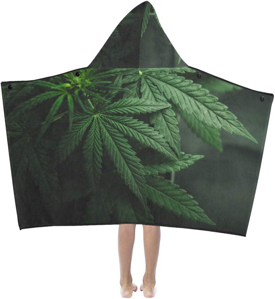 Manta al aire libre para niños Hojas de marihuana Cannabis On Dark Manta con capucha para niños Toallas de baño Manta para niños pequeños Niño Niña Niño Viaje en casa Manta con capucha para dormir p