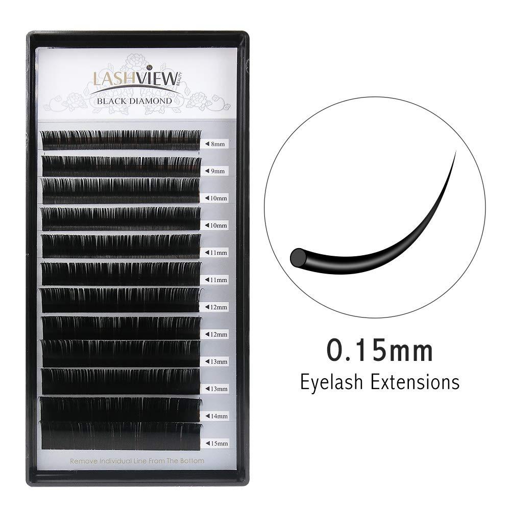 0e06653b2c0 LASHVIEW 0.15 Thickness Premium C Curl Mixed Tray Eyelash Extensions  Individual Natural Semi Permanent EyeLashes Soft