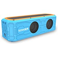 Soweiek Solar-Powered Portable Wireless Speaker with 55 Hours Playtime HD Stereo Sound Deep Bass 4400mAh Power Bank Mic AUX IPX5 Waterproof Durable Design (Blue)