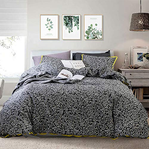 Opcloud Bedding Duvet-Cover-Set, King Vine and Leaves Pattern Cotton Luxury Hotel Soft Comforter Cover Set,1 Duvet Cover and 2 Pillow Shams Bedding-Set