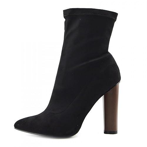 Kick Footwear Damen Block Heels Womens Mid Calf Militär Print Wildleder Stretch Lycra Stiefel - Uk 7/eu 40, Black Lycra