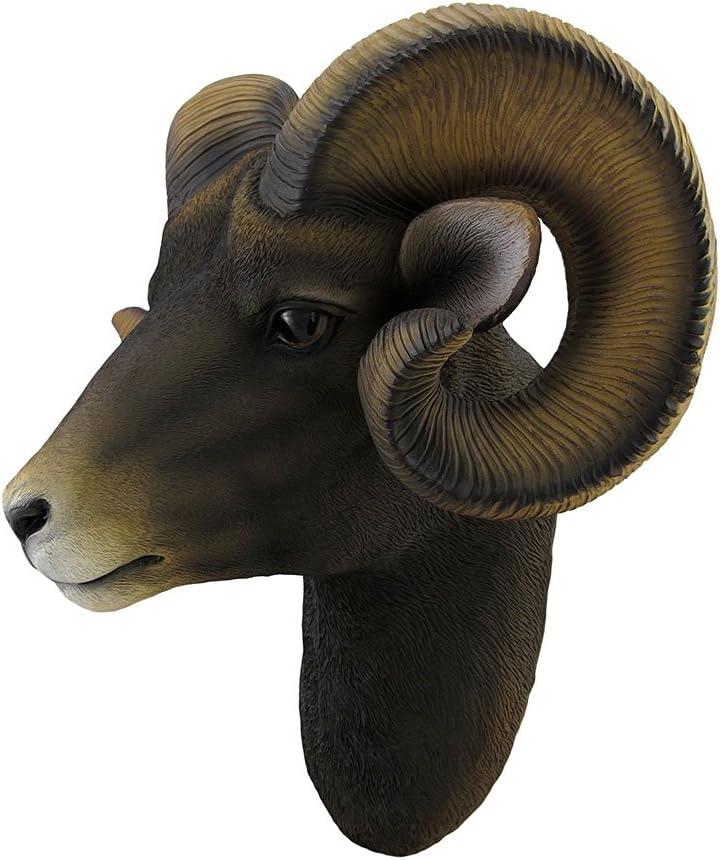 Large Ram Head Golden Antique Wall Mounted Wall Art Hanging Sculpture