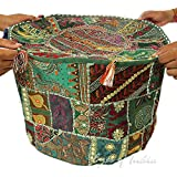 22' GREEN ROUND OTTOMAN POUF EMBROIDERED PATCHWORK BOHEMIAN Indian Decorative sale 2017