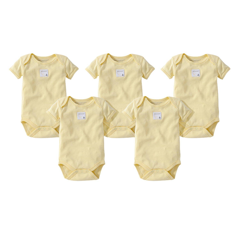 Burt's Bees Baby Baby, 5-Pack Long & Short-Sleeve One-Piece Bodysuits, Organic Cotton, Sunshine Short, 6-9 Months