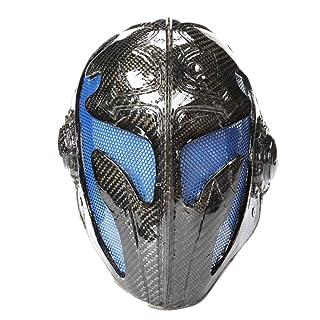 sldnfoi Maschera in Fibra di Carbonio Re Maschera Mascherata Puntelli Maschera di Halloween Maschera di Templari,Blue-OneSize