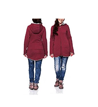 cbe7d026c34f9 BABE MAPS Womens's Maternity Coat Jacket Hoodie Sweatshirt for Baby Carriers  Red at Amazon Women's Clothing store: