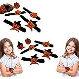 Halloween Pumpkin Designed Slap Bracelets | Wristband for Halloween Decoration | Halloween Party Favors | Set of 8 Slap Bracelets | Dazzling Toys