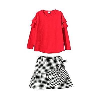 c3a204da57d26  XINXIKEJI 韓国子供服 キッズ 女の子 長袖 Tシャツ+ チェック柄スカート ガールズ